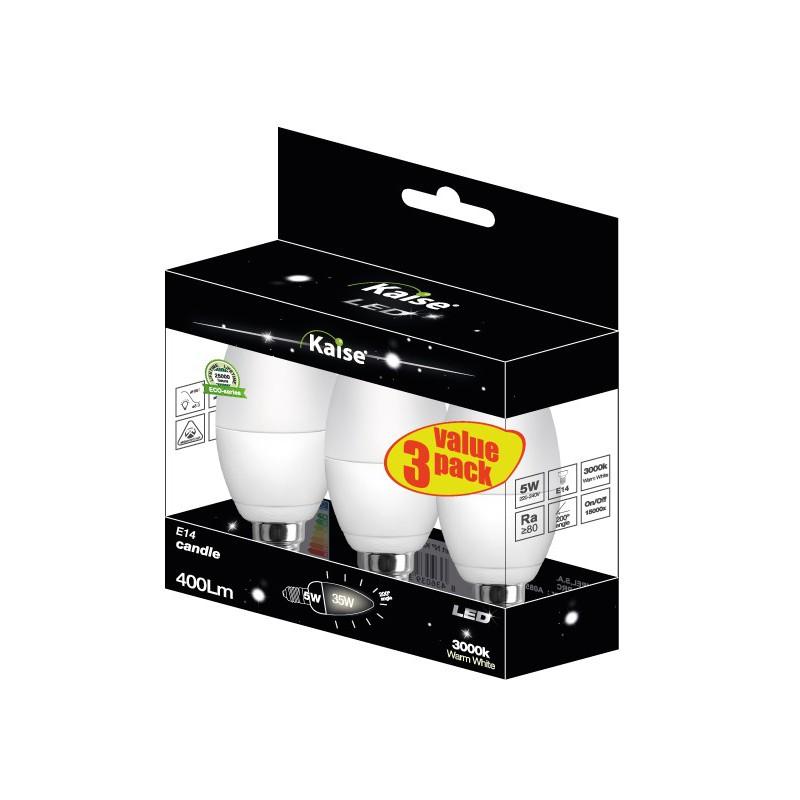 KAISE LED Multipack 3unid Mini Globe 5W - E14 - 3000K - 200º