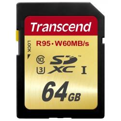 Cartão Transcend 64GB SDXC UHS-I U3 Card