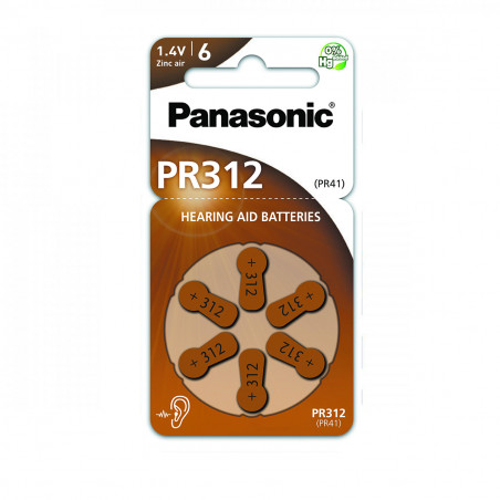 Pilha Panasonic Zinc Air PR312L - 1,4V BL6