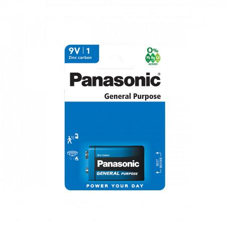 Pilha Panasonic Zinco Carvão 6F22 - 9V BL1