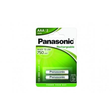 Pilha Panasonic recarregavel READY TO USE - LR03 750Mah BL2