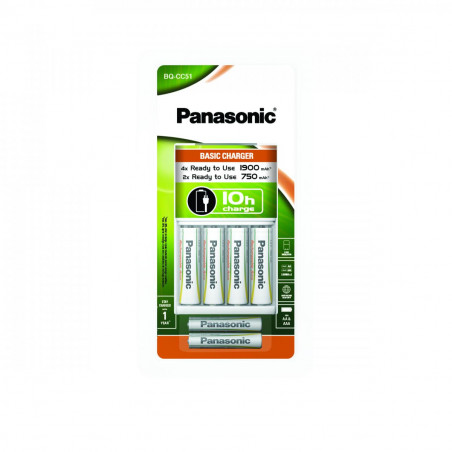 Carregador de Pilhas Panasonic - 4XP6E 1900mAh - 2X AAA 750mAh