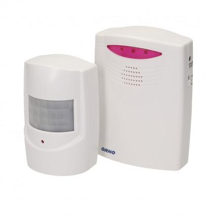 Alarme com detector de movimento ORNO - 3x LR14 ou 6VDC adaptador; sensor 3x1,5V AAA;  Alcance: 120m