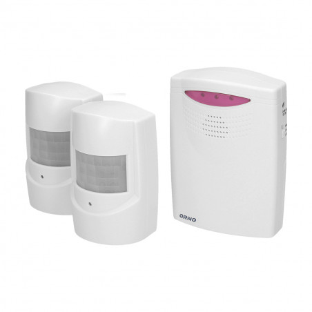Alarme com 2 x  detector de movimento ORNO - 3x LR14 or 6VDC adaptor; sensor 3x1,5V AAA;  alcance 120m
