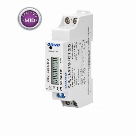 Contador digital de Energia p/ Calha DIN 40A c/ MID ORNO - (Monofásico)