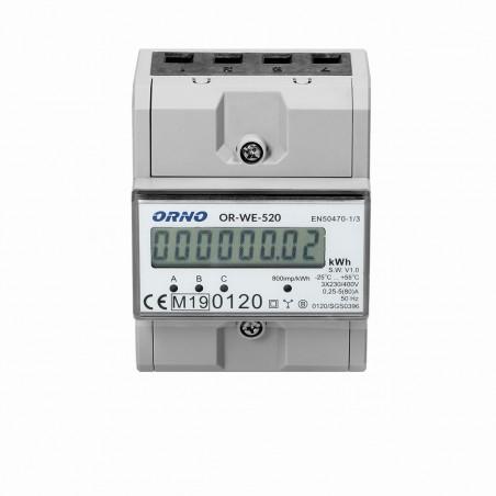 Contador digital de Energia p/ Calha DIN 80A c/ MID ORNO - (Trifásico)