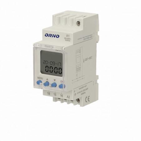 Temporizador Semanal Digital ORNO - p/ Calha DIN, 52 programas, LCD