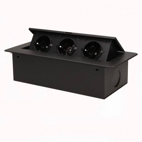 Tomada para Moveis ORNO - Preto, 3x 230V AC, Max 2500W, IP20