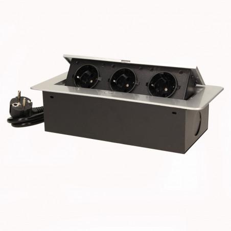 Tomada para Moveis c/ cabo 1,5mts ORNO - Cinza 3x 230V AC, Max 2500W, IP20,