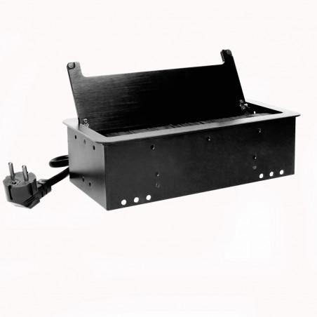 Tomada para Moveis c/ cabo 1,5mts ORNO - Preto 2x 230V AC, 2 x USB 5V 2,1Ah, Max 2500W, IP20