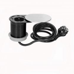 Tomada Redonda para Moveis deslizante c/ cabo 1,9mts ORNO - Cinza 1x 230V AC, 1 x USB 5V 2,1Ah