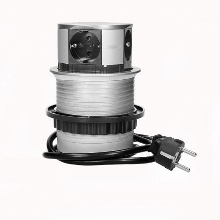 Tomada Redonda e retratil para Moveis c/ cabo 1,5mts ORNO - Cinza 4x 230V AC, Max 3680W, IP20