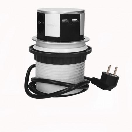 Tomada Redonda e retratil para Moveis c/ cabo 1,5mts ORNO - Cinza 3x 230V AC, 1 x USB 5V 2,4Ah