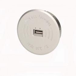 Carregador Sem Fios + Porta USB Extra p/ Moveis ORNO - Cinza, 5V DC 2,1Ah