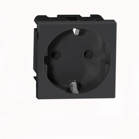 Tomada Schuko Modular P/ 9010 ORNO -  45 x 45mm - Preto