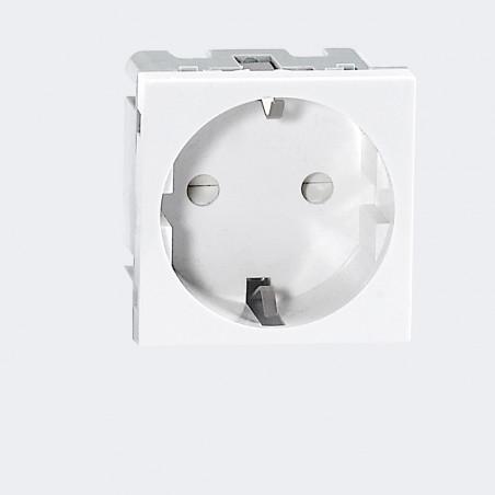 Tomada Schuko Modular P/ 9010 ORNO -  45 x 45mm - Branco