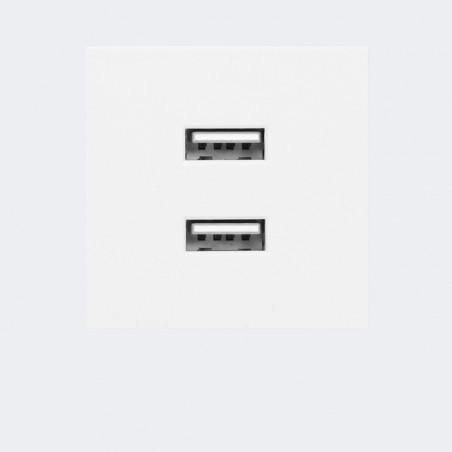 Tomada USB duplo Modular P/ 9010 ORNO - 2 x portas USB, 45 x 45mm - Branco