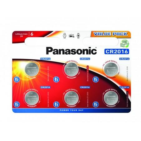 Pilha Panasonic Lítio Botão CR2016 BL6