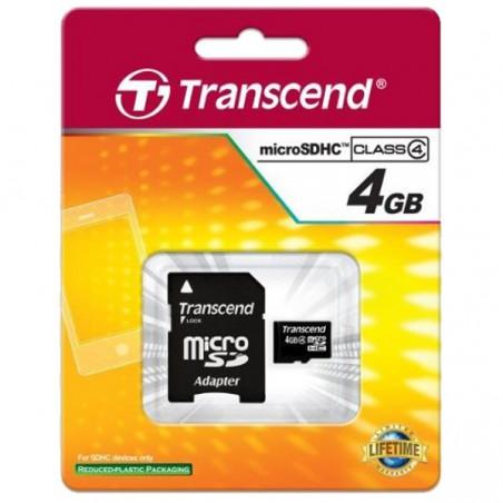 Cartão Transcend Micro SDHC 4 Gb + Adap - class 4