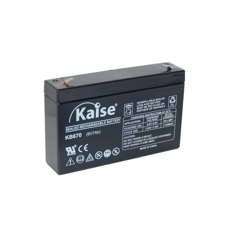 Bateria Kaise Standard 6V 7,0Ah Terminal F1